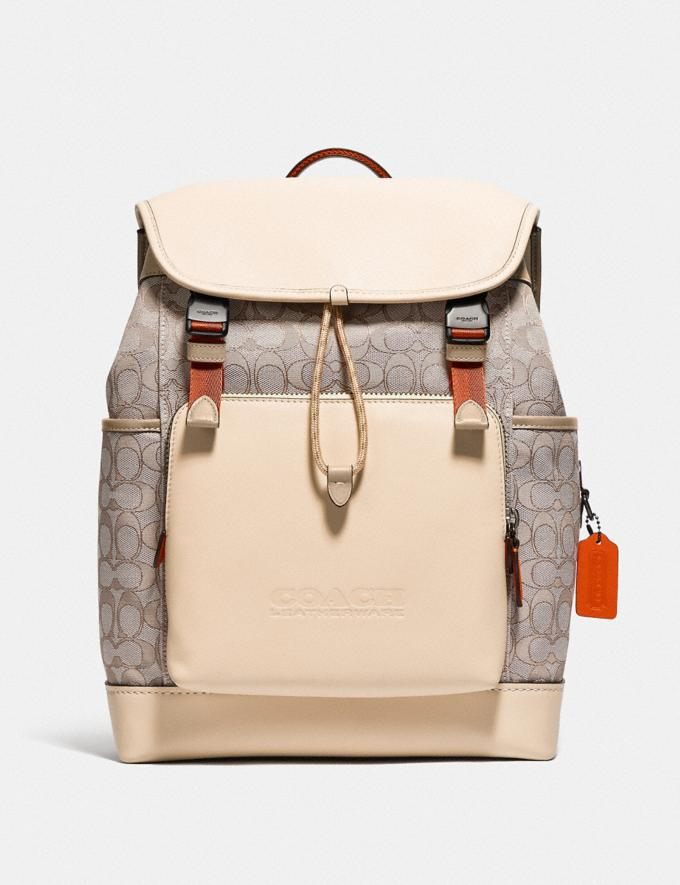 Coach League Flap Backpack in Signature Jacquard Black Copper/Stone/Ivory null