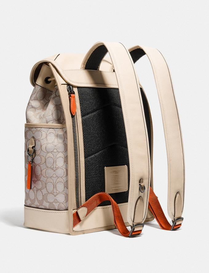 Coach League Flap Backpack in Signature Jacquard Black Copper/Stone/Ivory null Alternate View 1