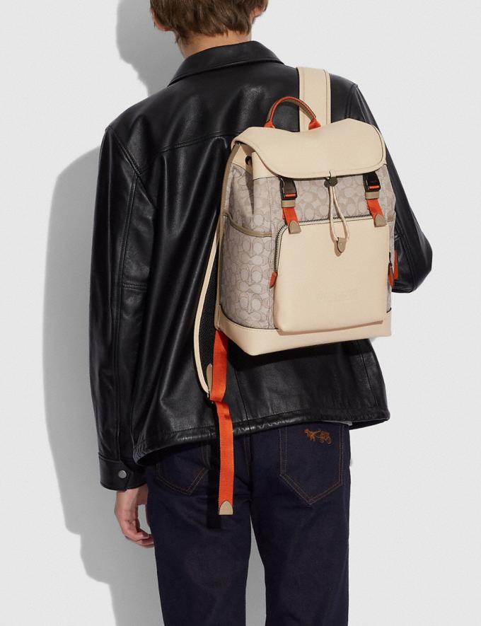 Coach League Flap Backpack in Signature Jacquard Black Copper/Stone/Ivory null Alternate View 3