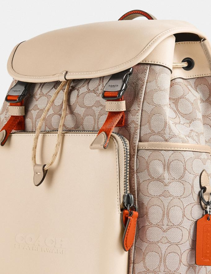 Coach League Flap Backpack in Signature Jacquard Black Copper/Stone/Ivory null Alternate View 4