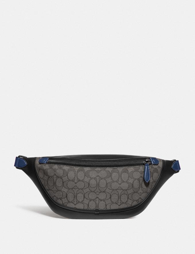 Coach League Belt Bag in Signature Jacquard Black Copper/Charcoal/Black null