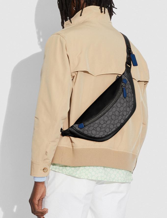 Coach League Belt Bag in Signature Jacquard Black Copper/Charcoal/Black null Alternate View 3