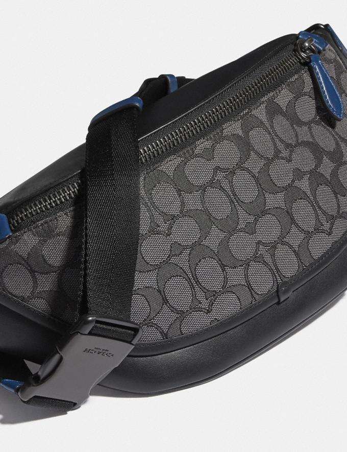 Coach League Belt Bag in Signature Jacquard Black Copper/Charcoal/Black null Alternate View 4