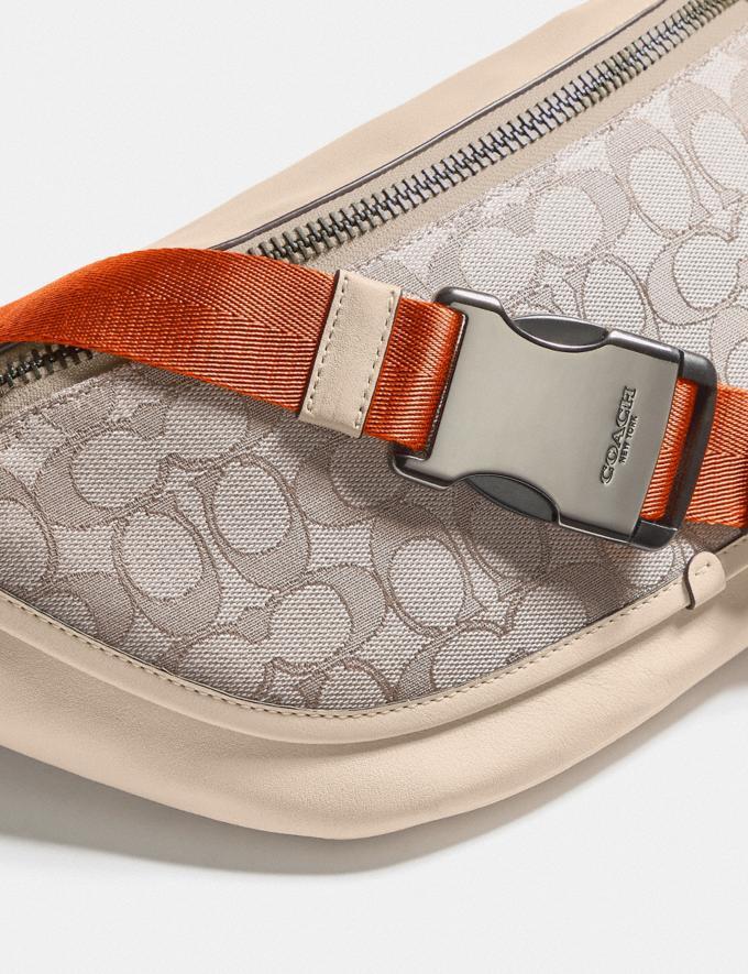 Coach League Belt Bag in Signature Jacquard Black Copper/Stone/Ivory New Men's New Arrivals Bags Alternate View 4