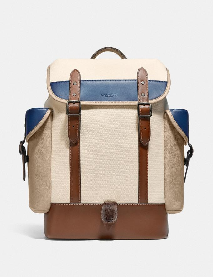 Coach Hitch Backpack in Organic Cotton Canvas Black Copper/Natural Multi New Men's New Arrivals Bags