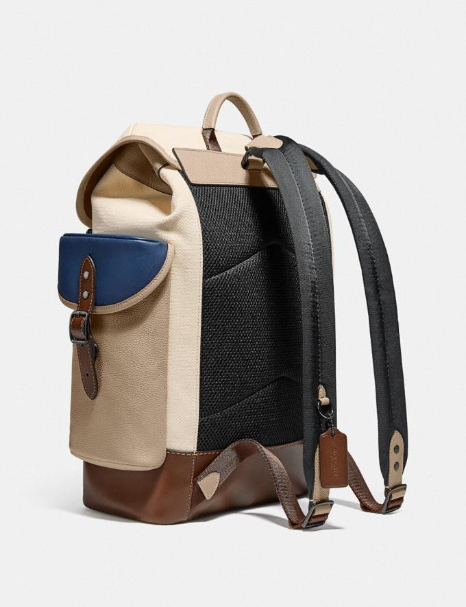 Coach Hitch Backpack in Organic Cotton Canvas Black Copper/Natural Multi New Men's New Arrivals Bags Alternate View 1