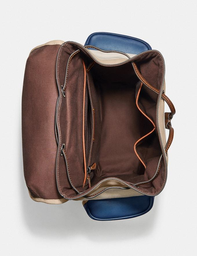 Coach Hitch Backpack in Organic Cotton Canvas Black Copper/Natural Multi New Men's New Arrivals Bags Alternate View 2