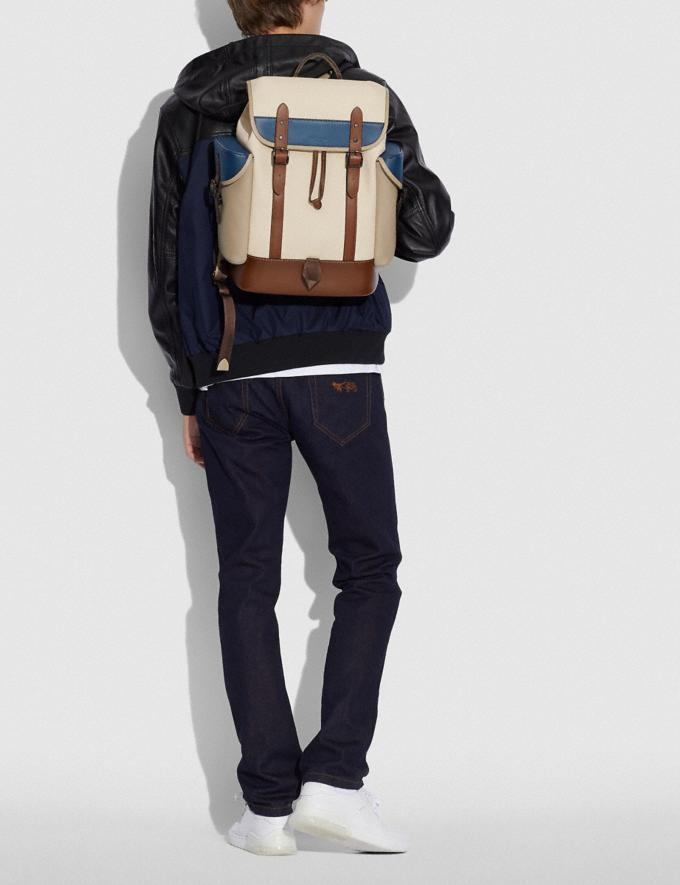Coach Hitch Backpack in Organic Cotton Canvas Black Copper/Natural Multi New Men's New Arrivals Bags Alternate View 3