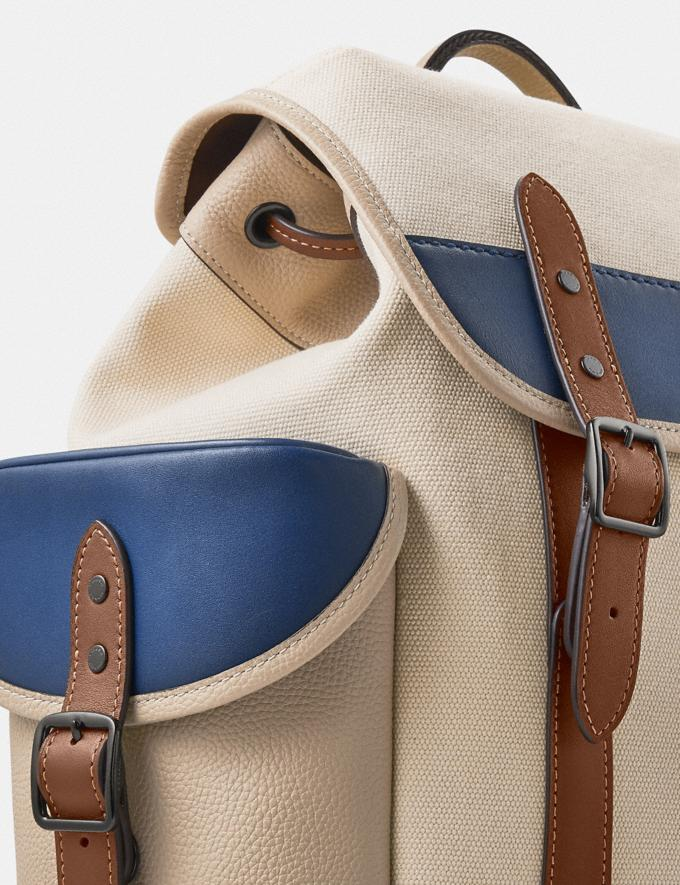 Coach Hitch Backpack in Organic Cotton Canvas Black Copper/Natural Multi New Men's New Arrivals Bags Alternate View 4