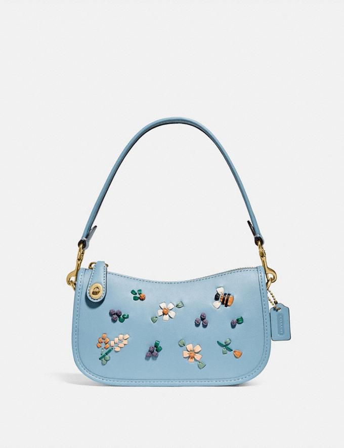 Coach Swinger 20 With Floral Embroidery Brass/Azure null