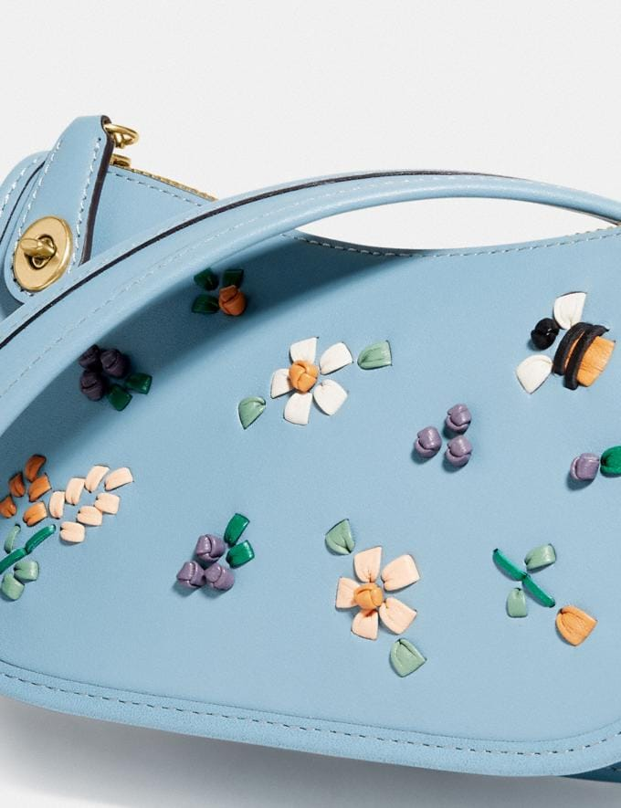 Coach Swinger 20 With Floral Embroidery Brass/Azure null Alternate View 4