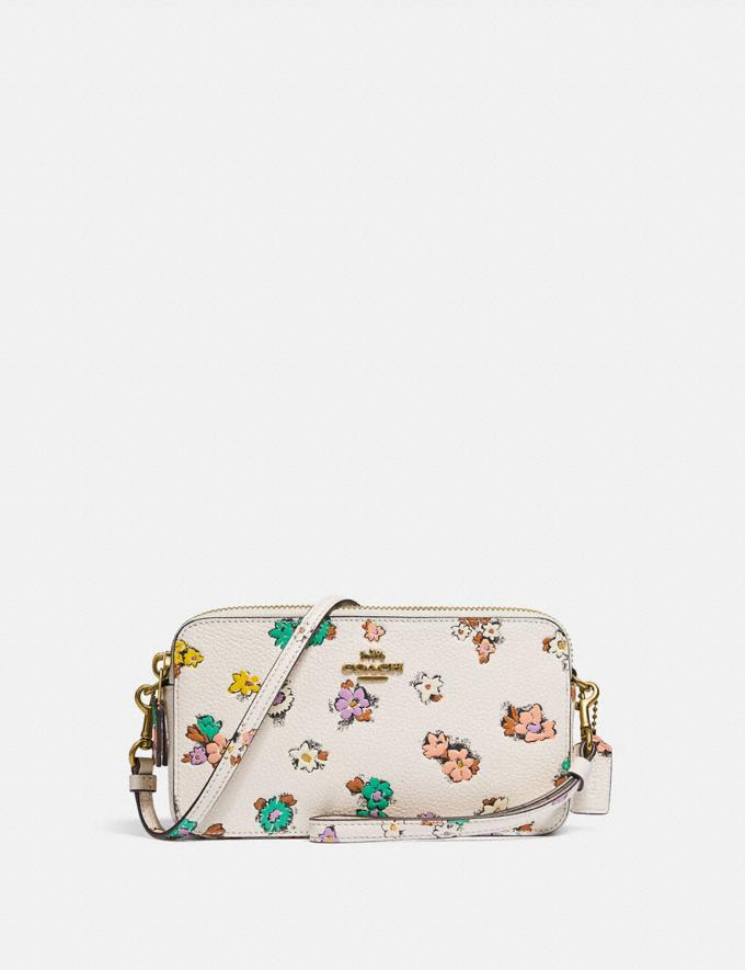 Coach Kira Crossbody With Floral Print Brass/Chalk null