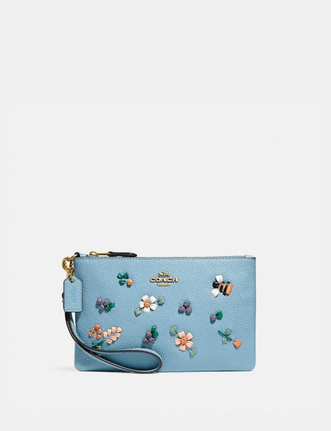 Coach Small Wristlet With Floral Embroidery Brass/Azure null