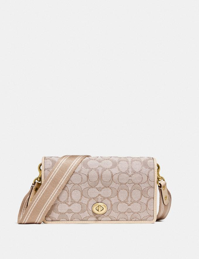 Coach Hayden Foldover Crossbody Clutch in Signature Jacquard Brass/Stone Ivory null