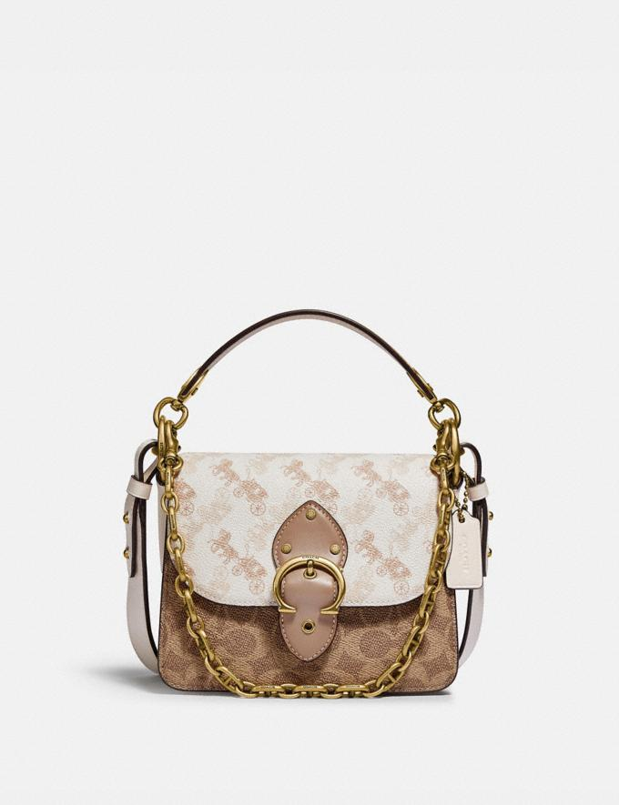 Coach Beat Shoulder Bag 18 With Horse and Carriage Print Brass/Chalk Tan Taupe Multi New Women's New Arrivals Bags