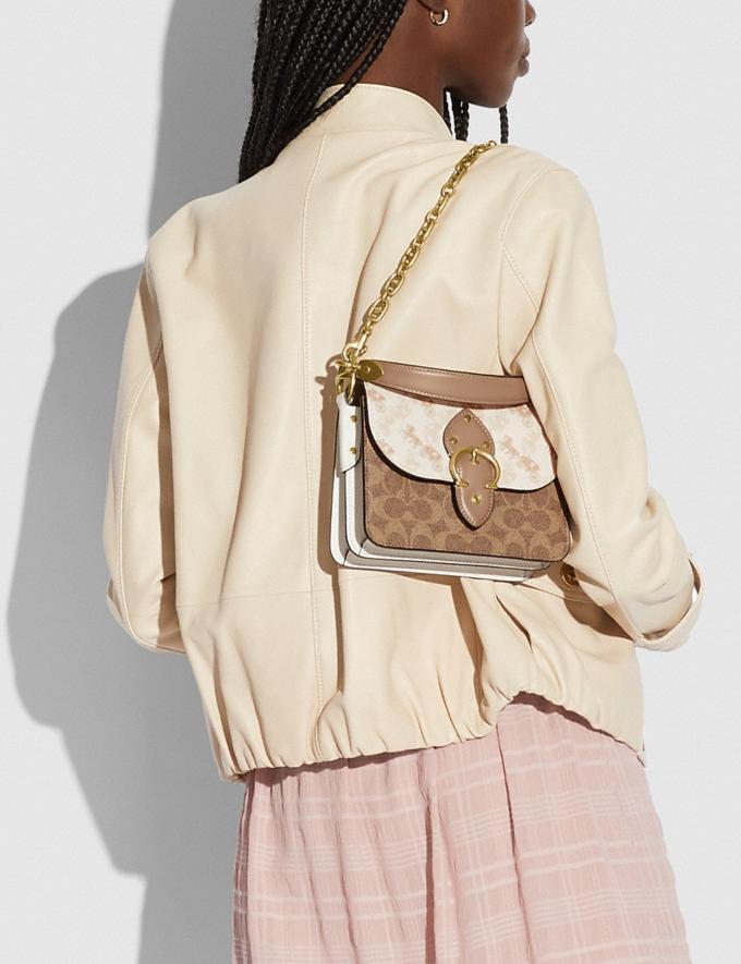 Coach Beat Shoulder Bag 18 With Horse and Carriage Print Brass/Chalk Tan Taupe Multi New Women's New Arrivals Bags Alternate View 4