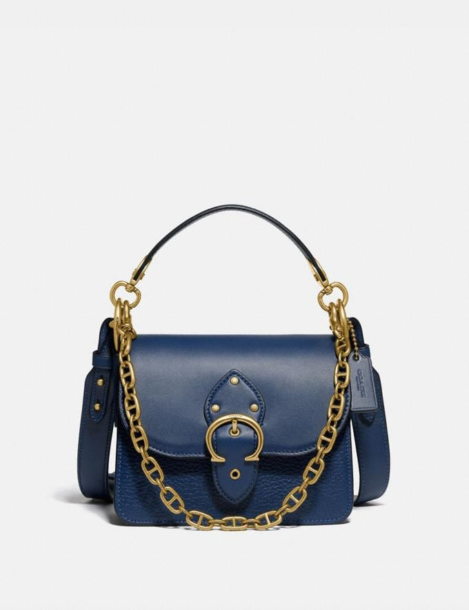 Coach Beat Shoulder Bag 18 Brass/Deep Blue New Women's New Arrivals Bags