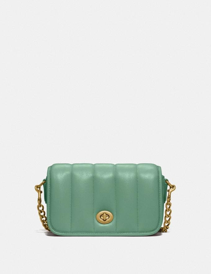 Coach Dinky 18 With Quilting Brass/Washed Green New Women's New Arrivals Bags