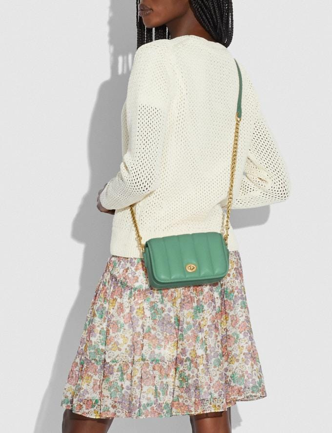 Coach Dinky 18 With Quilting Brass/Washed Green New Women's New Arrivals Bags Alternate View 4