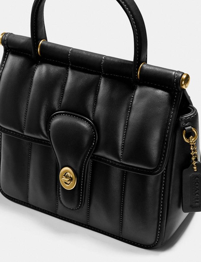 Coach Willis Top Handle 18 With Quilting Brass/Black New Women's New Arrivals Bags Alternate View 4