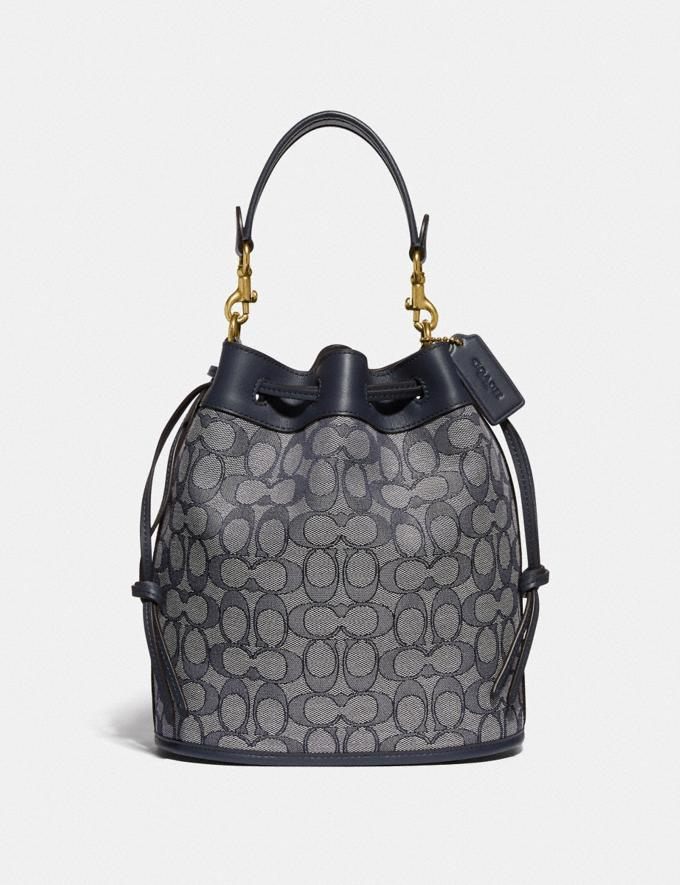 Coach Field Bucket Bag in Signature Jacquard Brass/Navy Midnight Navy New Women's New Arrivals Bags