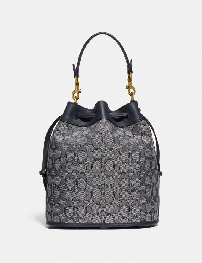 Coach Field Bucket Bag in Signature Jacquard Brass/Navy Midnight Navy New Women's New Arrivals Bags Alternate View 2