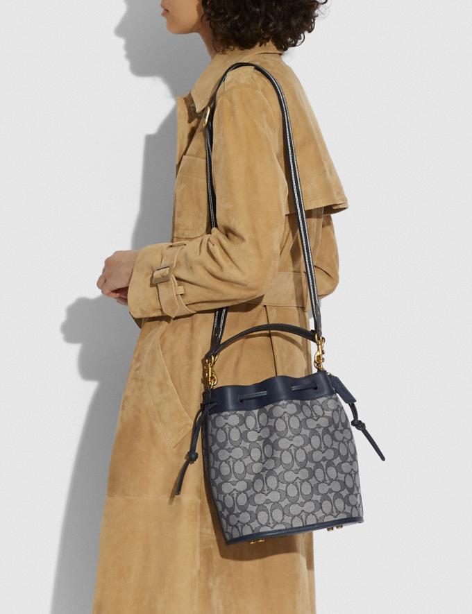 Coach Field Bucket Bag in Signature Jacquard Brass/Navy Midnight Navy New Women's New Arrivals Bags Alternate View 4