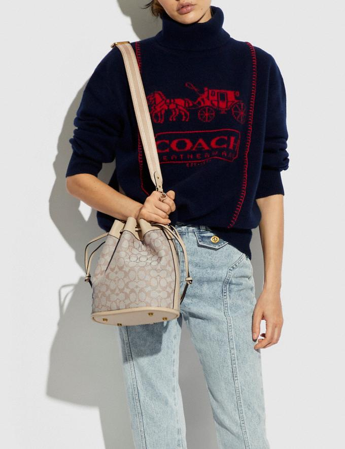Coach Field Bucket Bag in Signature Jacquard Brass/Stone Ivory Translations 5.1 Retail Alternate View 4