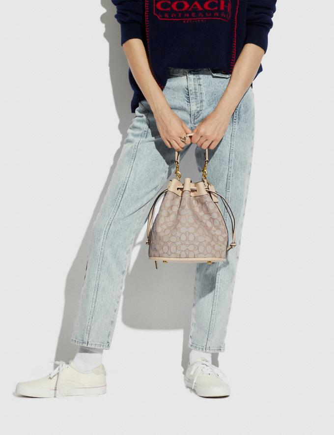Coach Field Bucket Bag in Signature Jacquard Brass/Stone Ivory Translations 5.1 Retail Alternate View 5