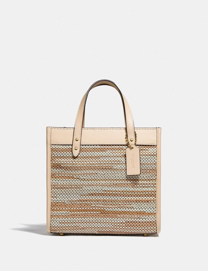 Coach Field Tote 22 in Upwoven Leather B4/Ivory Multi New Women's New Arrivals Bags