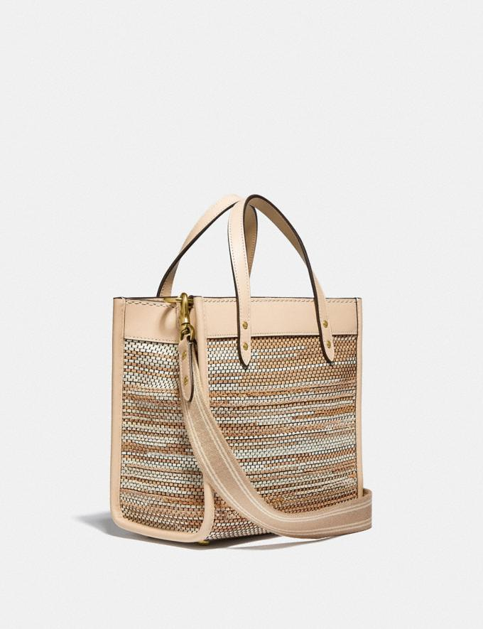 Coach Field Tote 22 in Upwoven Leather B4/Ivory Multi New Women's New Arrivals Bags Alternate View 1