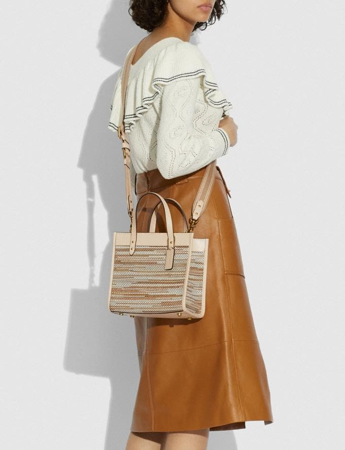 Coach Field Tote 22 in Upwoven Leather B4/Ivory Multi New Women's New Arrivals Bags Alternate View 3