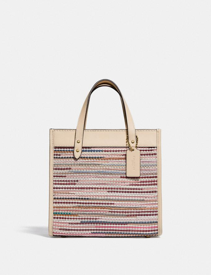 Coach Field Tote 22 in Upwoven Leather B4/Ivory Multi null