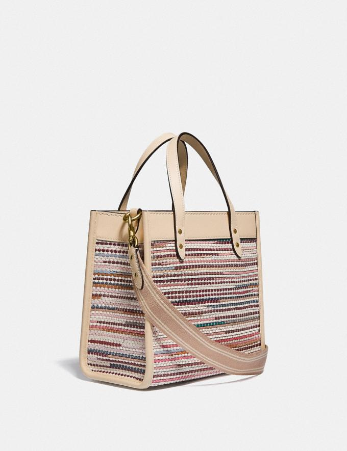 Coach Field Tote 22 in Upwoven Leather B4/Ivory Multi null Alternate View 1