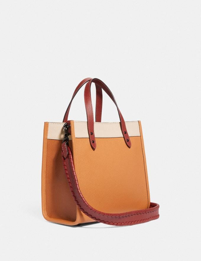 Coach Field Tote 22 in Colorblock With Coach Badge and Whipstitch V5/Natural Multi New Women's New Arrivals Bags Alternate View 1