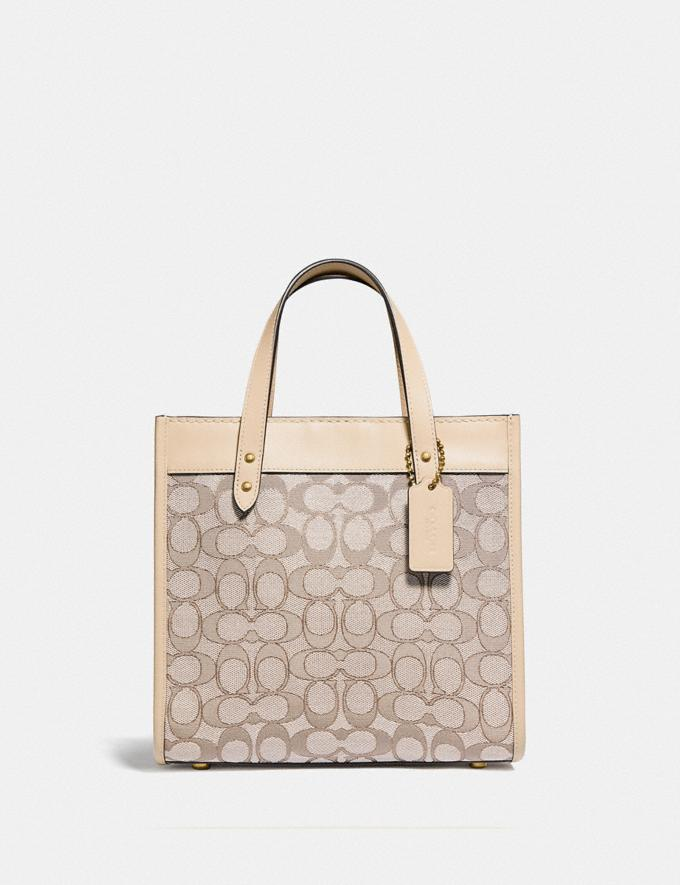 Coach Field Tote 22 in Signature Jacquard Brass/Stone Ivory null