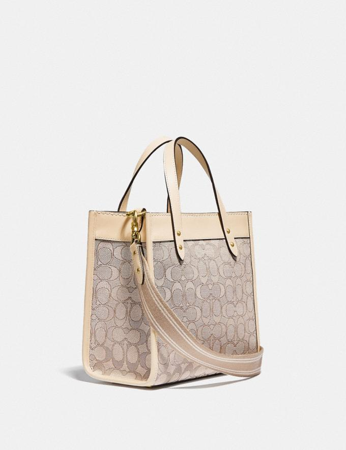 Coach Field Tote 22 in Signature Jacquard Brass/Stone Ivory null Alternate View 1