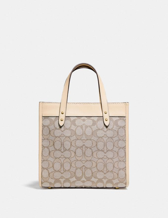 Coach Field Tote 22 in Signature Jacquard Brass/Stone Ivory null Alternate View 2