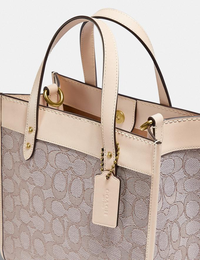 Coach Field Tote 22 in Signature Jacquard Brass/Stone Ivory null Alternate View 5