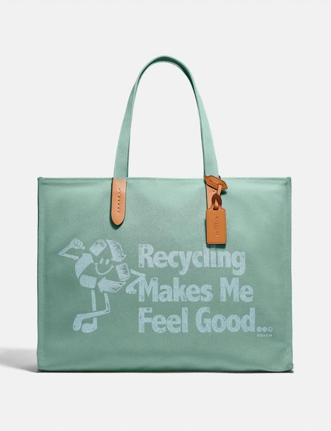 Coach 100 Percent Recycled Tote 42 Brass/Iceberg Green