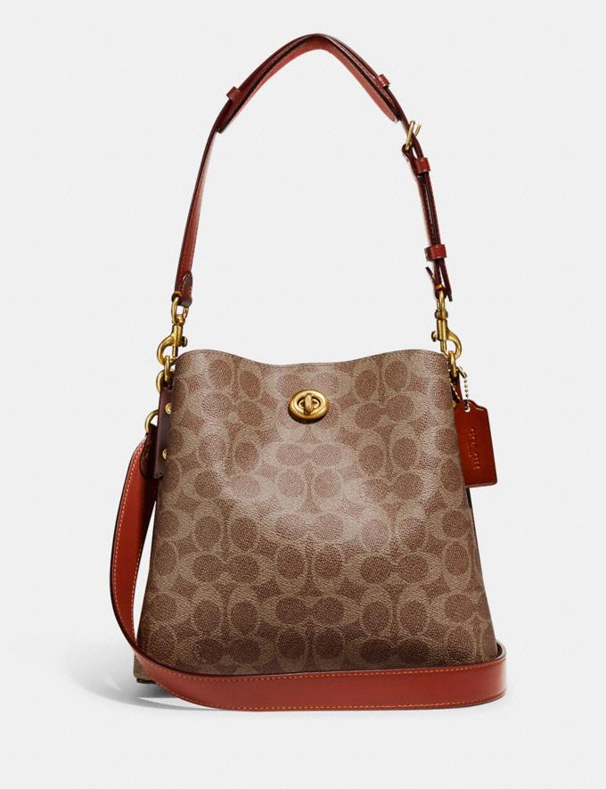 Coach Willow Bucket Bag in Signature Canvas Brass/Tan Rust New Women's New Arrivals Bags