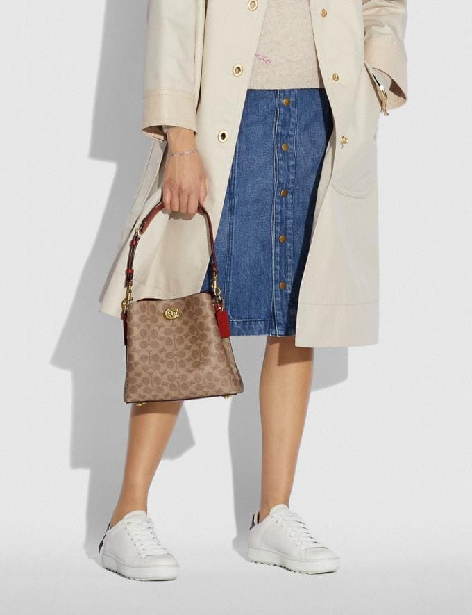 Coach Willow Bucket Bag in Signature Canvas Brass/Tan Rust New Women's New Arrivals Bags Alternate View 4