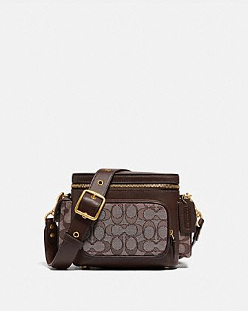 utility crossbody 18 in signature jacquard