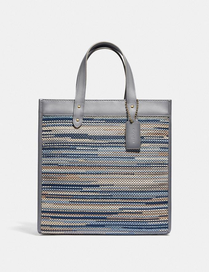 Coach Field Tote in Upwoven Leather Brass/Granite Multi New Women's New Arrivals Bags