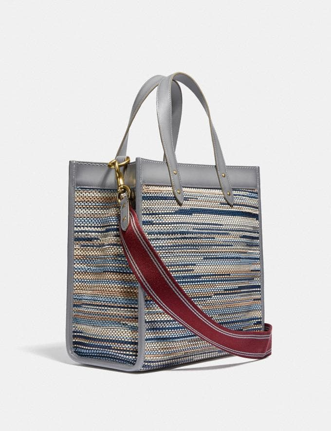 Coach Field Tote in Upwoven Leather Brass/Granite Multi New Women's New Arrivals Bags Alternate View 1