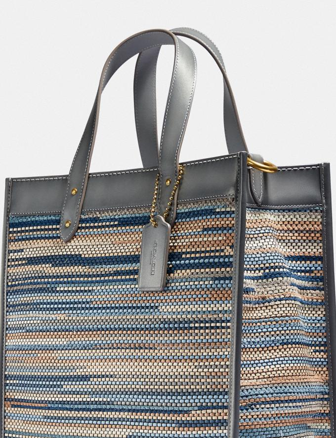 Coach Field Tote in Upwoven Leather Brass/Granite Multi New Women's New Arrivals Bags Alternate View 4