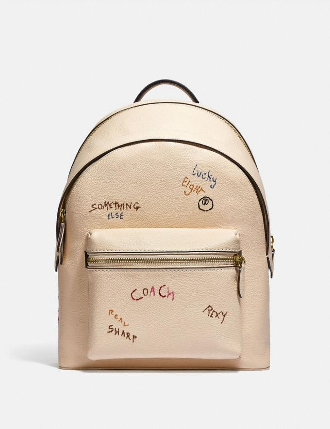 Coach Charter Backpack With Embroidery Brass/Ivory Multi New Men's New Arrivals Bags