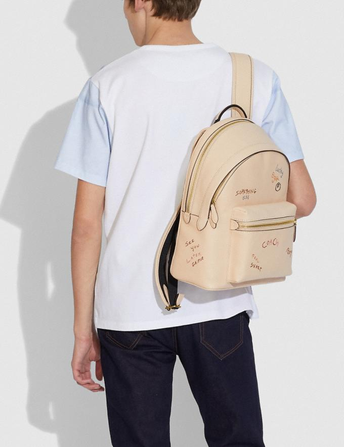 Coach Charter Backpack With Embroidery Brass/Ivory Multi New Men's New Arrivals Bags Alternate View 3