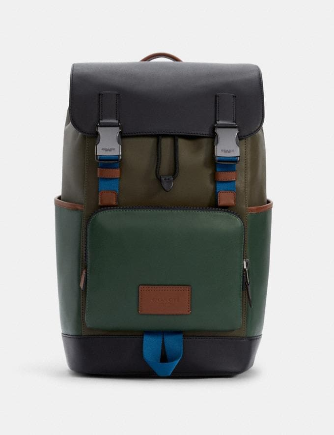 Coach Track Backpack in Colorblock Qb/Dark Clover Multi DEFAULT_CATEGORY