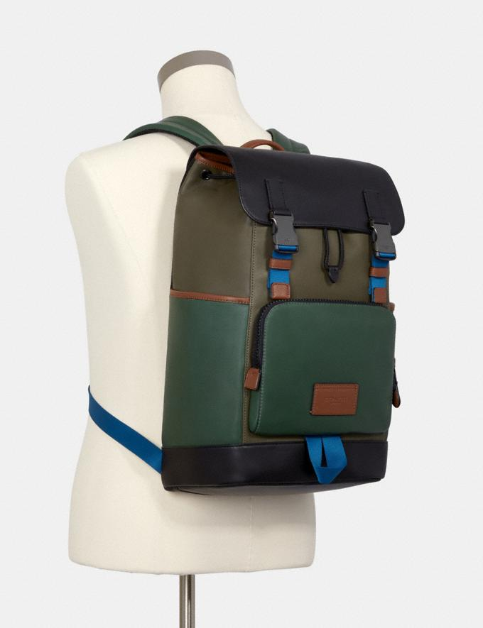 Coach Track Backpack in Colorblock Qb/Dark Clover Multi DEFAULT_CATEGORY Alternate View 3